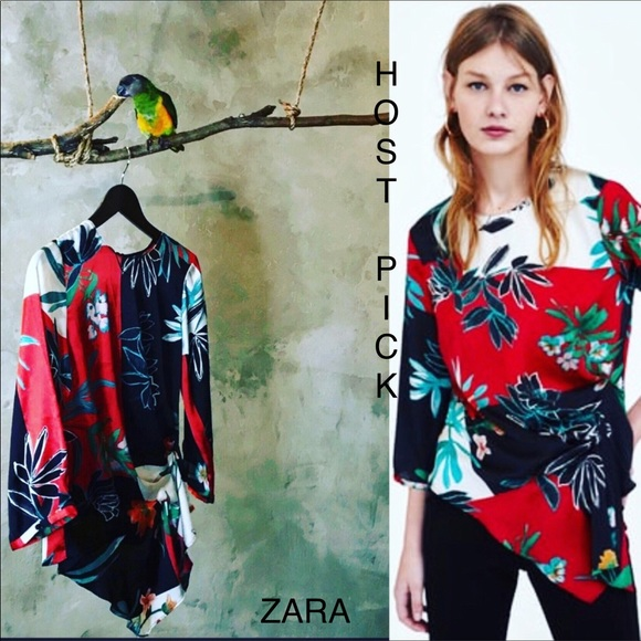 d3d3f776f55dc ZARA PRINT BLOUSE WITH PLEATS
